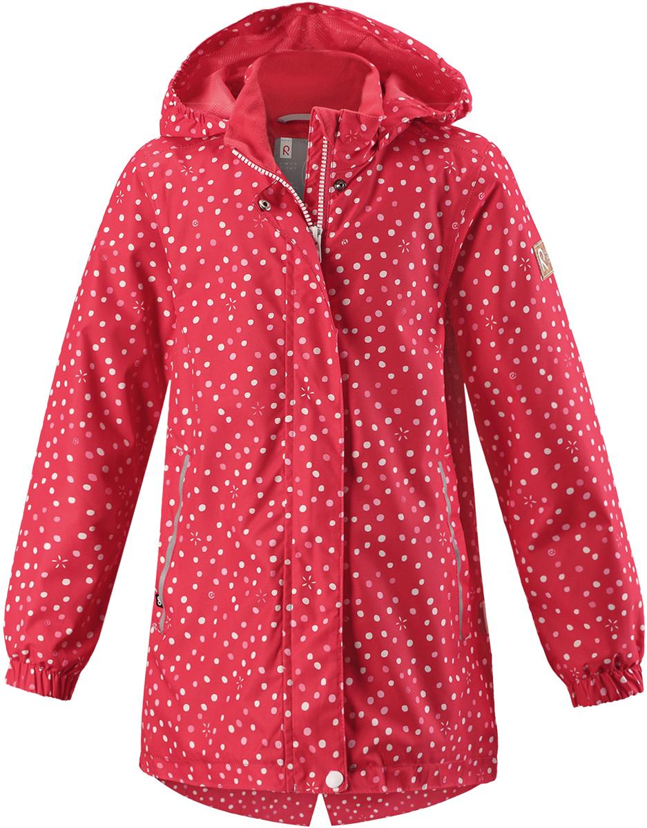 Куртка детская Reima, цвет: красный. 5215383342. Размер 1165215383342Детская куртка от Reima выполнена из полиэстера с полиуретановым покрытием. Модель с воротником стойкой и съемным капюшоном застегивается на застежку-молнию с ветрозащитным клапаном на кнопках. Капюшон пристегивается с помощью кнопок. Спереди расположены прорезные карманы. Низ рукавов присборен на резинки. Задняя часть изделия на талии присборена на резинку. Изделие имеет светоотражающие элементы.
