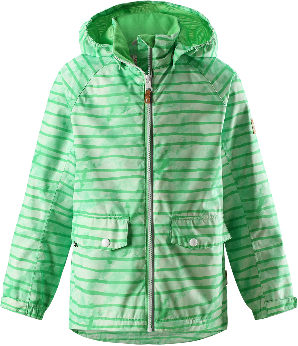 Куртка для мальчика Reima, цвет: зеленый. 5215378464. Размер 1465215378464Куртка для мальчика от Reima выполнена из полиэстера с полиуретановым покрытием. Модель с воротником стойкой и съемным капюшоном застегивается на застежку-молнию. Капюшон пристегивается с помощью кнопок. Спереди расположены прорезные карманы с клапанами. Низ рукавов дополнен хлястиками на липучках.
