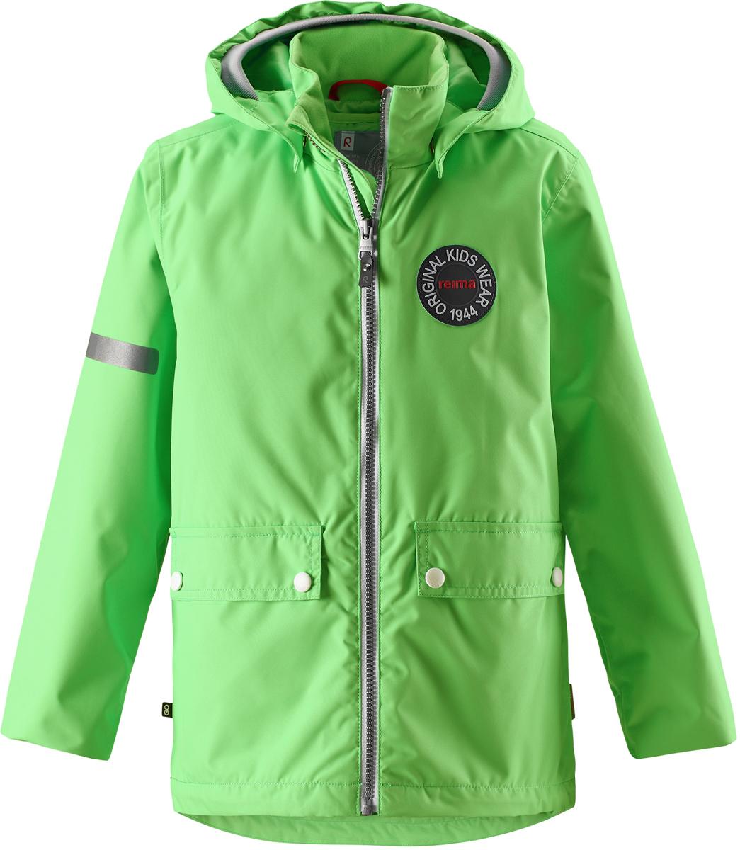 Куртка детская Reima, цвет: зеленый. 5215288460. Размер 985215288460Детская куртка Reima выполнена из полиэстера с полиуретановым покрытием. Модель с воротником стойкой и съемным капюшоном застегивается на застежку-молнию. Капюшон пристегивается с помощью кнопок. Спереди расположены прорезные карманы с клапанами на кнопках. Низ рукавов дополнен трикотажными манжетами. Куртка оснащена съемной утепленной жилеткой. Изделие имеет светоотражающие элементы.