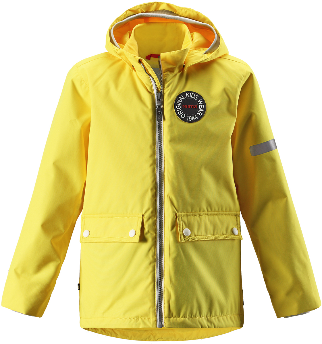 Куртка детская Reima, цвет: желтый. 5215282330. Размер 1105215282330Детская куртка Reima выполнена из полиэстера с полиуретановым покрытием. Модель с воротником стойкой и съемным капюшоном застегивается на застежку-молнию. Капюшон пристегивается с помощью кнопок. Спереди расположены прорезные карманы с клапанами на кнопках. Низ рукавов дополнен трикотажными манжетами. Куртка оснащена съемной утепленной жилеткой. Изделие имеет светоотражающие элементы.