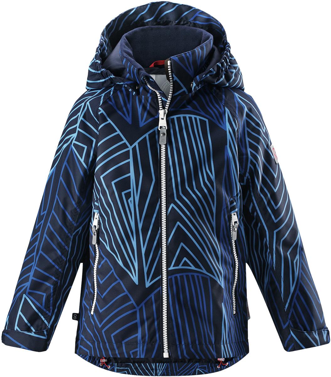 Куртка детская Reima, цвет: синий. 521526R6982. Размер 104521526R6982Детская куртка Reima выполнена из полиэстера с полиуретановым покрытием. Модель с воротником стойкой и съемным капюшоном застегивается на застежку-молнию. Капюшон пристегивается с помощью кнопок. Спереди расположены прорезные карманы на застежках-молниях. Низы рукавов дополнены хлястиками на липучках.