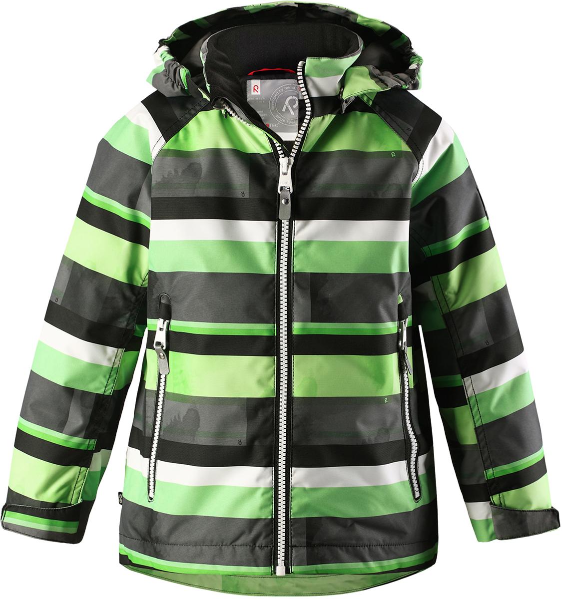 Куртка детская Reima, цвет: серый. 521526R8461. Размер 110521526R8461Детская куртка Reima выполнена из полиэстера с полиуретановым покрытием. Модель с воротником стойкой и съемным капюшоном застегивается на застежку-молнию. Капюшон пристегивается с помощью кнопок. Спереди расположены прорезные карманы на застежках-молниях. Низы рукавов дополнены хлястиками на липучках.