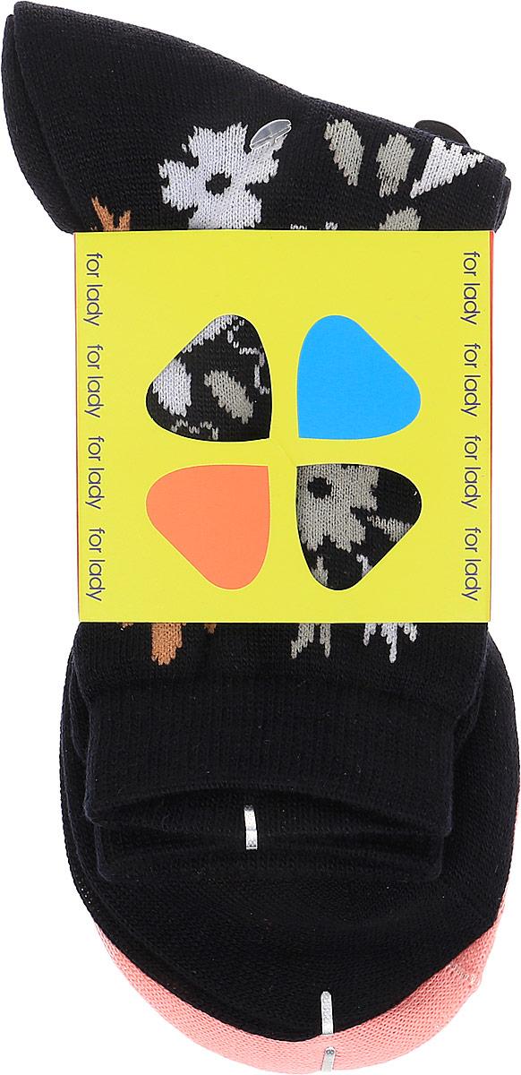 Носки женские Master Socks, цвет: черный, розовый, 2 пары. 85420. Размер 23/2585420Комплект носков Master Socks изготовлен из высококачественного комбинированного материала, который позволяет коже дышать.Комплект включает в себя 2 пары очень мягких и приятных на ощупь носков, оформленных лаконичными цветочными узорами. Эластичная резинка плотно облегает ногу, не сдавливая ее, обеспечивая комфорт и удобство. Усиленные пятка и мысок обеспечивают надежность и долговечность изделий.Удобные и комфортные носки великолепно подойдут к любой вашей обуви.