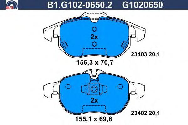 Колодки тормозные дисковые Galfer. B1.G102-0650.2B1.G102-0650.2