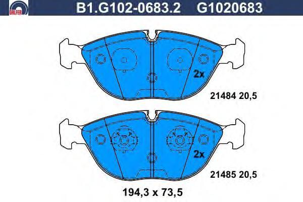 Колодки тормозные дисковые Galfer. B1.G102-0683.2B1.G102-0683.2