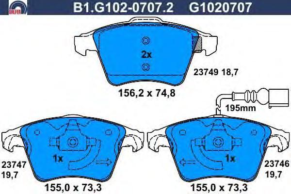 Колодки тормозные дисковые Galfer. B1.G102-0707.2B1.G102-0707.2