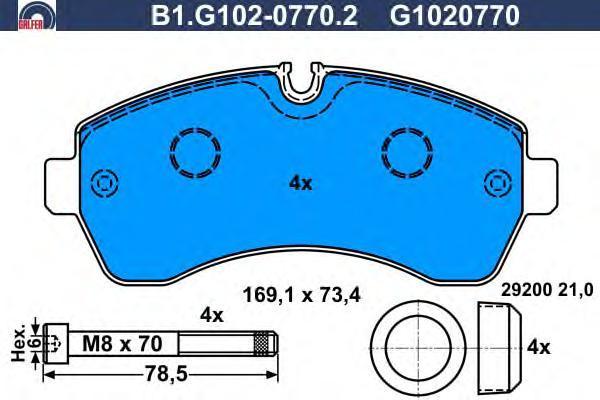 Колодки тормозные дисковые Galfer. B1.G102-0770.2B1.G102-0770.2