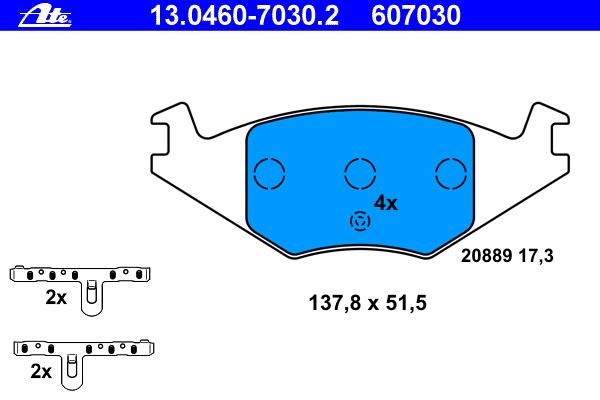 Колодки тормозные дисковые Ate. 13.0460-7030.213.0460-7030.2