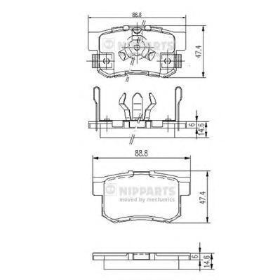 Колодки тормозные дисковые Nipparts, задние. J3614017J3614017