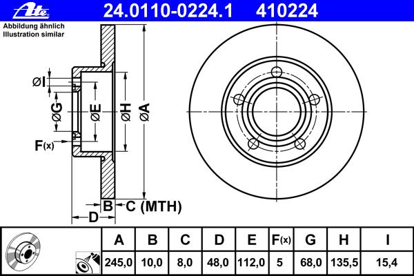 Диск тормозной Ate, 2 шт. 24.0110-0224.124.0110-0224.1