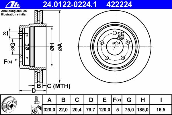 Диск тормозной Ate. 24.0122-0224.124.0122-0224.1