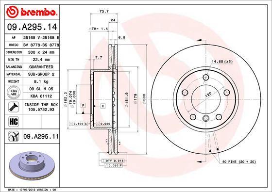 Диск тормозной Brembo, передний, 2 шт. 09.A295.1109.A295.11