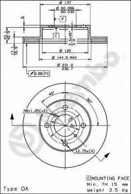 Диск тормозной Brembo, передний, 2 шт. 09.3095.2009.3095.20