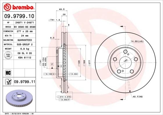 Диск тормозной Brembo, передний, 2 шт. 09.9799.1009.9799.10