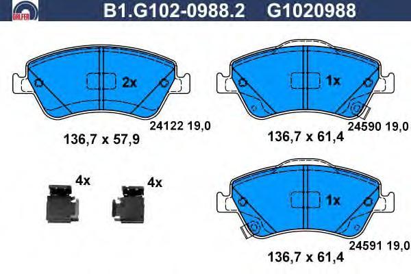 Колодки тормозные дисковые Galfer. B1.G102-0988.2B1.G102-0988.2