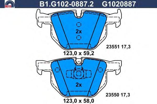 Колодки тормозные дисковые Galfer. B1.G102-0887.2B1.G102-0887.2