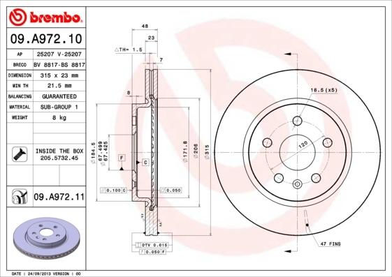 Диск тормозной Brembo, 2 шт. 09.A972.1109.A972.11