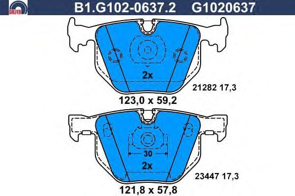 Колодки тормозные дисковые Galfer. B1.G102-0637.2B1.G102-0637.2