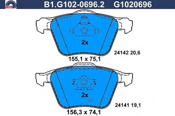 Колодки тормозные дисковые Galfer. B1.G102-0696.2B1.G102-0696.2