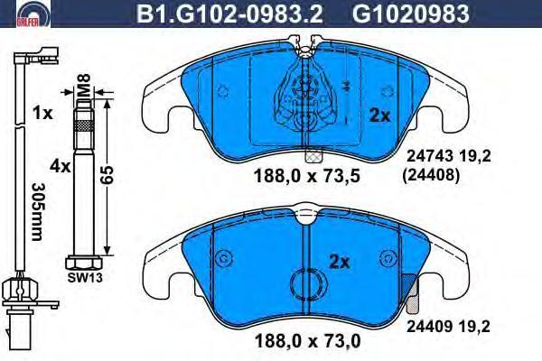 Колодки тормозные дисковые Galfer. B1.G102-0983.2B1.G102-0983.2