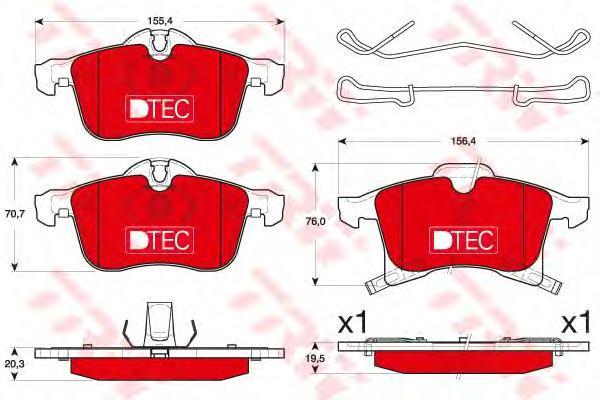 Колодки тормозные дисковые TRW, передние. GDB1668DTEGDB1668DTE