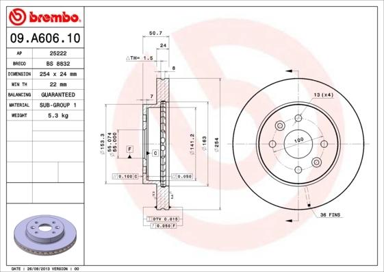 Диск тормозной Brembo, передний, вентилируемый, 2 шт. 09.A606.1009.A606.10