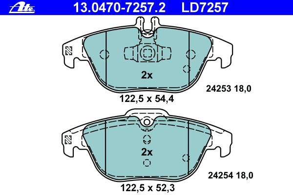 Колодки тормозные дисковые Ate. 13.0470-7257.213.0470-7257.2
