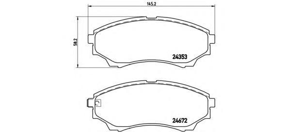 Колодки тормозные дисковые Brembo, передние. P24086P24086