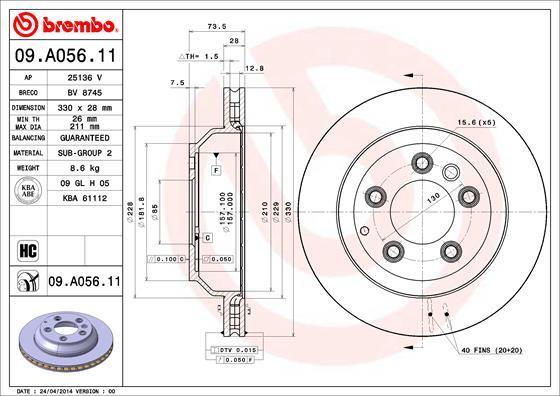 Диск тормозной Brembo, 2 шт. 09.A056.1109.A056.11