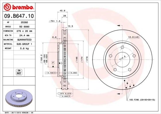 Диск тормозной Brembo, 2 шт. 09.B647.1009.B647.10