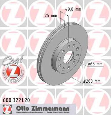 Диск тормозной Zimmermann, 2 шт. 600.3221.20600.3221.20