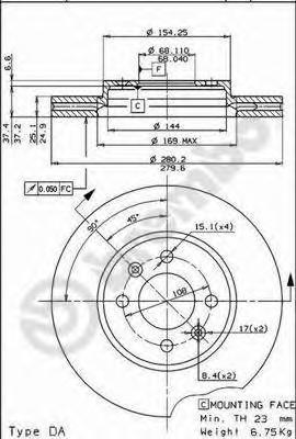 Диск тормозной Brembo, передний, вентилируемый, 2 шт. 09.5221.1009.5221.10