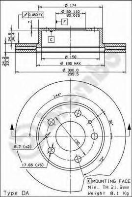Диск тормозной Brembo, передний, вентилируемый, 2 шт. 09.5906.1409.5906.14
