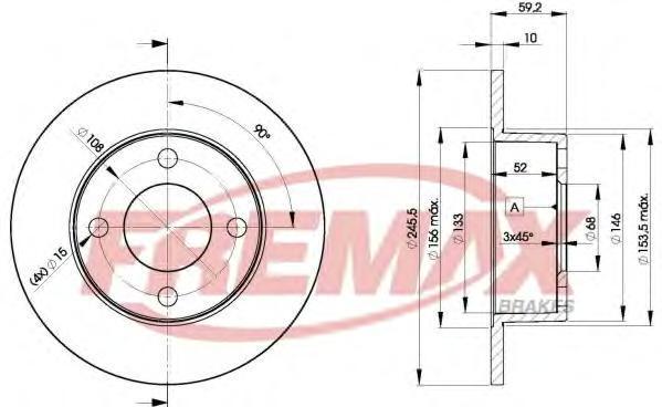 Диск тормозной Fremax. BD-4010BD-4010