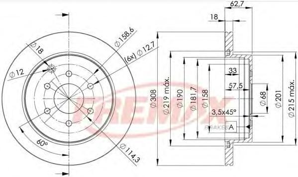 Диск тормозной Fremax, 2 шт. BD-4203BD-4203