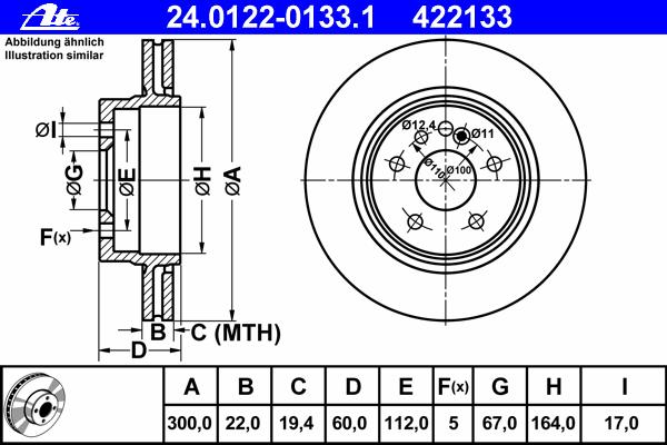 Диск тормозной Ate, 2 шт. 24.0122-0133.124.0122-0133.1