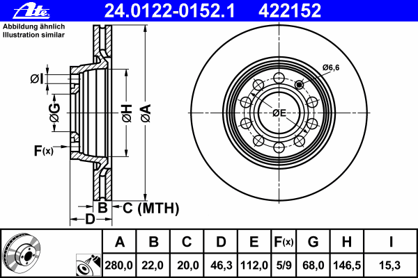 Диск тормозной Ate, 2 шт. 24.0122-0152.124.0122-0152.1