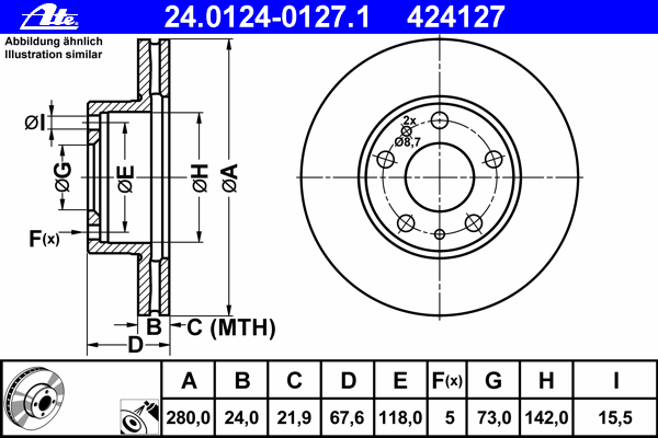 Диск тормозной Ate, 2 шт. 24.0124-0127.124.0124-0127.1