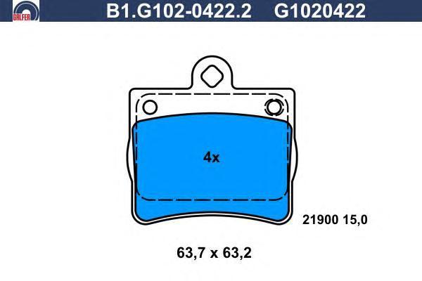 Колодки тормозные дисковые Galfer. B1.G102-0422.2B1.G102-0422.2