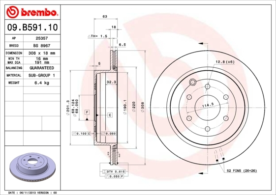 Диск тормозной Brembo. 09.B591.1009.B591.10