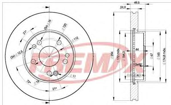 Диск тормозной Fremax, 2 шт. BD-2412BD-2412