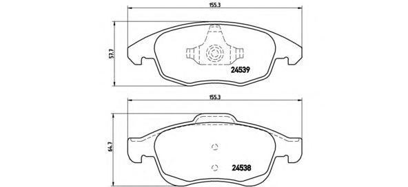 Колодки тормозные дисковые Brembo, передние, комплект. P61083P61083