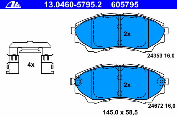 Колодки тормозные дисковые Ate. 13.0460-5795.213.0460-5795.2