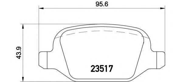 Комплект тормозных колодок Brembo, задние, комплект. P23065P23065