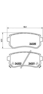 Комплект тормозных колодок Brembo, задние, комплект. P30025P30025