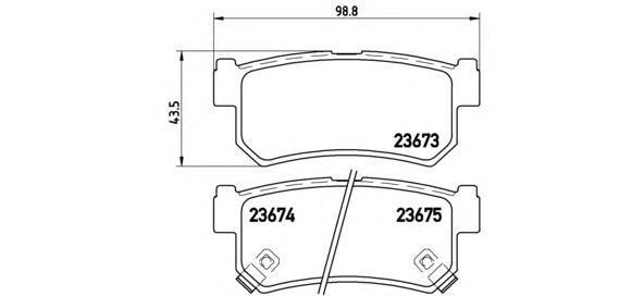 Комплект тормозных колодок Brembo, задние, комплект. P15010P15010