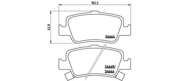Комплект тормозных колодок Brembo, задние, комплект. P83080P83080