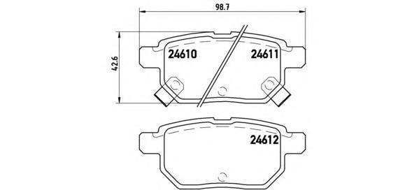 Комплект тормозных колодок Brembo, задние, комплект. P83083P83083