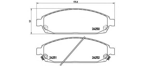 Колодки тормозные дисковые Brembo, передние, комплект. P37010P37010
