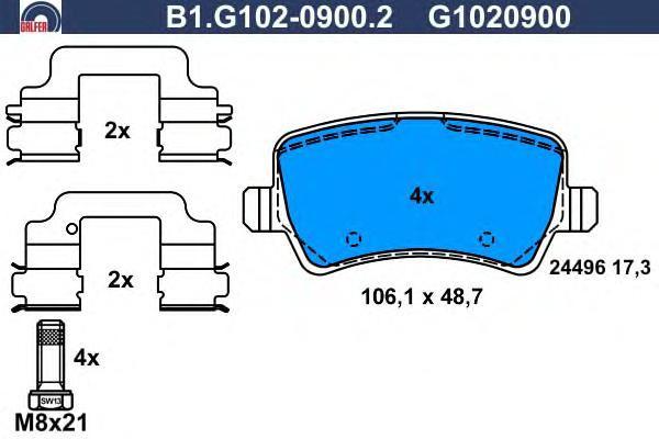 Колодки тормозные дисковые Galfer, комплект. B1.G102-0900.2B1.G102-0900.2